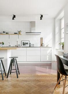 Kitchen | Stockholm | Photography courtesy of bostad erikolsson | via SFGirlByBay~ love the pink floor and the black lights