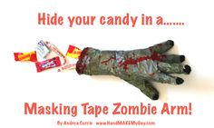 #Halloween  The Walking Dead Masking Tape Zombie Arm Craft