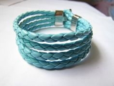 Cool  Light  Blue  Leather and stainless steel by sevenvsxiao, $7.50