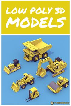 Heavy Machinery Pack by Boris_Mesaros Low Poly Car, Paper Industry, Low Poly Games, Low Poly 3d Models, Heavy Machinery, Game Assets, Miniture Things, Kid Beds, Zbrush