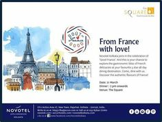 Annual Good France dinner on Monday at The Square, Novotel Kolkata's All Day Diner from 7 pm onwards. The specially crafted preset menu features the very best in French cuisine and comes with the option of exquisite French wines! Call us at 8584077060 for Reservations for this one day event tomorrow evening.