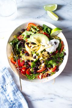 Vegetarian Taco Salad with a honey lime dressing