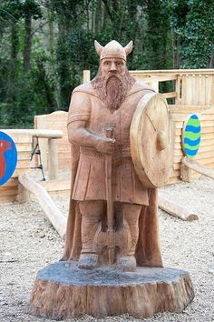 Chainsaw Carving of a Viking, This was carved as a commission for a playground in Clontarf in Dublin. This was part of the millenium anniversary of the invasion of the Vikings in 1014.
