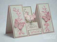 handmade Easter card from Aspiring to Creativity ... Double Sided Step Card ... vanilla, beige and pink ... glittered butterflies and stamped foliage ... luv the trio of butterflies floating in the center ...