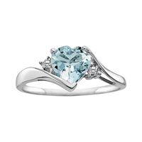 Fred Meyer Jewelers   Aquamarine and Diamond Heart Ring $199.00