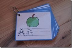 Uppercase letter tracing cards printable. If you laminate them you can use them over and over. Great for preparing for kindergarden. She also has numbers and bible flashcards too. Love this site.