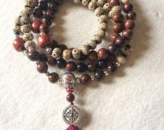 Mala Necklace,108 Mala Beads, Mahogany Obsidian, Lotus Seed, Meditation Mala, Buddhist Pray Beads, Yoga Mala