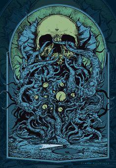 The World of Lovecraft Science Illustration, Skull Illustration, Arte Horror, Horror Art, Dark Fantasy Art, Art Cthulhu, Art Sombre, Lovecraftian Horror, Dark Artwork
