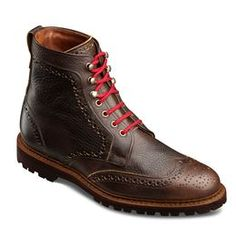 Long Branch Wingtip Boots, 6021 Dark Brown Grain Leather, blockout