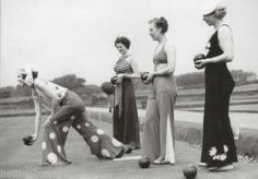 Greetings Card 1935 Vintage Image Ladies Bowling in Beach Pyjamas Pant Suits | eBay