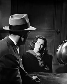Gene Tierney(and Dana Andrews'back), 1944, production still from Laura  viamacey-mae