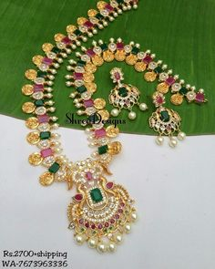 1 Gram Gold Jewellery, Gold Jewellery Design, Gold Jewelry, Vanki Designs Jewellery, Hand Designs, Gemstone Colors, Jewelry Branding, Necklace Designs, Fashion Necklace