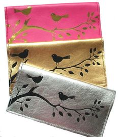 Italian lamb's leather checkbook cover with birds & branches. Stay organized and keep your checks safe.
