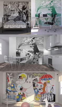 Moomin wallpaper.  Yes, it's too much, and yes, I'd put it up in my home in a second.