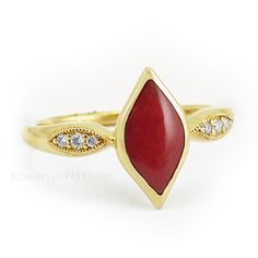 Kabana Diamond and Red Coral Ring in Yellow Gold