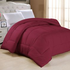Down Alternative Ultra Plush Comforter Size: Twin, Color: Burgundy ($26) ❤ liked on Polyvore featuring home, bed & bath, bedding, comforters, colored comforters, synthetic down comforter, twin bed linens, twin bedding and beyond down comforter