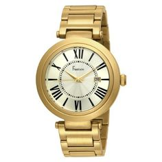 Freelook Unisex HA1134GM-3 Cortina Roman Numeral Matte Gold  Watch Freelook. $89.99. Fashion, roman numerals, round shape, gold dial, bracelet. Two year warranty. Water-resistant to 165 feet (50 M). Case diameter: 41 mm. Quality and precise Japanese-quartz movement with analog-display