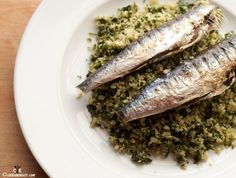 Plate of fresh herb cauliflower rice with sardines