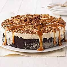 Gooey caramel and pecans top this delicious Coffee-Mallow Torte. Recipe: www.bhg.com/recipe/ice-cream/coffee-mallow-torte/?socsrc=bhgpin072012coffeemallowtorte