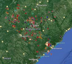 Every #earthquake ever recorded in South Carolina.  Most earthquake activity in the Palmetto State occurs in the coastal plain; however, while several fault lines have been mapped, many more have been estimated based on seismic activity throughout the entire state.  Download a Google Earth KMZ file that maps every recorded earthquake in South Carolina's history: http://scearthquakes.cofc.edu/support_files/sc_hist_eq_1698_2012.kmz