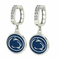 High Quality Penn State Nittany Lions jewelry and CZ hoop earrings using sterling silver, cubic zirconia and durable enamel. This is a double side silver charm that displays the school symbols and colors on each side. The hoops are solid sterling silver and each is set with 5 2.75mm round cubic zirconia's. Strong enough to wear everyday yet stylish enough to wear for special occasions.Penn State Nittany Lions Jewelry - Small Silver CZ Hoop EarringsMetal: Sterling SilverCubic Zir