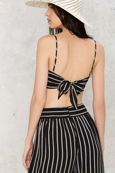 After Party Vintage Sicily Striped Bra Top - Clothes | After Party | Tanks | Cropped | Tops