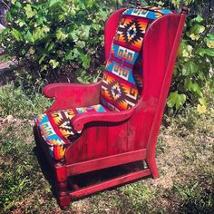 Native American Inspired Decor Red finished chair with custom Pendelton upholstery - Randi Whipple