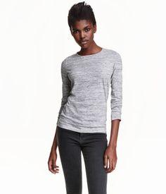 Long-sleeved Jersey Top   Light gray melange