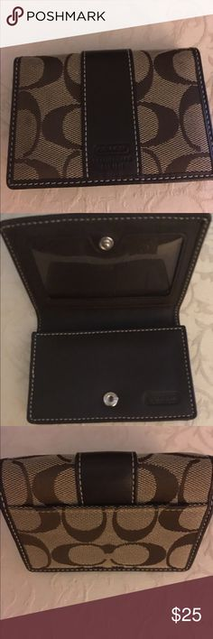 Coach card holder Adorable Coach card holder with 3 slots. A plastic one for identification, a bigger one for cards and another one on the backside of the wallet. A little dirty on front spot but in great condition. Coach Accessories Key & Card Holders
