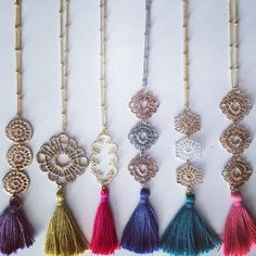 Filigree Metal Lace Silk Tassel Necklace | Stitch and Stone