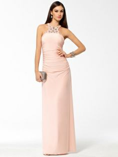 Glimmering jewels frost the collar and T-strap back of this blush-hued ruched confection. Halter silhouette, Jeweled & sequined neck and back strap.