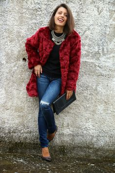 I love Fita Métrica: Burgundy Fur Coat