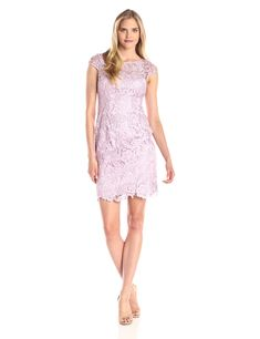 Adrianna Papell Women's Cap Sleeve Lace Dress, Icy Lilac, 8
