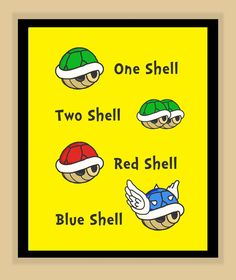 Dr Suess Super Mario Brothers One Shell, Two Shell, Red Shell, Blue Shell Nursery Children's room Print by modernhomeprints Super Mario Nursery, Super Mario Room, Boy Room, Kids Room, Nintendo Room, Super Mario Brothers, Mario Party, Neutral, Nursery Prints