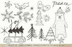 Rustic Christmas Cliparts Graphics A set of adorable hand drawn Christmas clipart's. Saved as individual png files and ai file. Please by Avenue Designs Christmas Doodles, Christmas Clipart, Christmas Cards, Christmas Decorations, Floral Design School, Bear Design, Chalkboard Art, Creative Sketches, Pencil Illustration