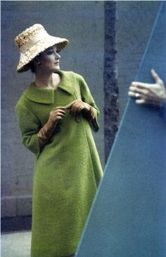 Model in a coat by Seymour Fox.  Photo by Saul Leiter, Harper's Bazaar, Feb. 1959.