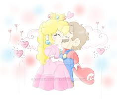 Metal Mario And Pink Gold Peach Kiss