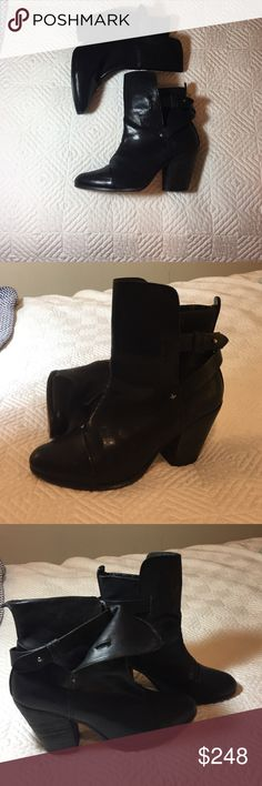 """Rag&bone leather booties 39.5 - RAG & BONE NEWBURY ANKLE BOOTS  READY TO SHIP PRODUCT DETAILs Black leather Rag & Bone Newbury round-toe ankle boots with wooden stacked block heels and peg-in-hole closures at ankle straps. Color: Black Shoe Size: 9.5 Condition: Very Good.wear at soles. Measurements: Heels 3.5"""" rag & bone Shoes Ankle Boots & Booties"""