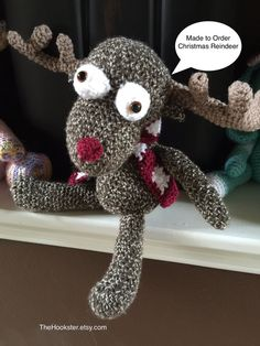 Crocheted Amigurumi Christmas Reindeer - Place your order now by TheHookster