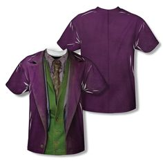 Dark Knight Joker Costume Mens Poly Short Sleeve Sublimation Crew Shirt