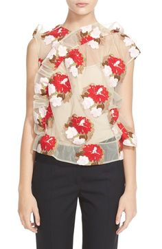 Simone Rocha Embroidered Tulle Top