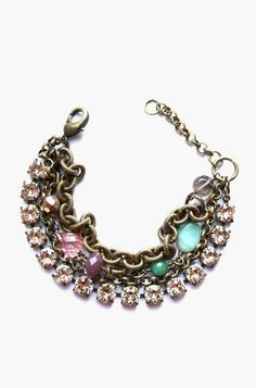 Textured brass chain with swarovski blush crystals and hand wrapped beads.