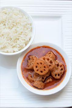 Nadru ki Yakhni (Lotus Stems in Yogurt Gravy). An authentic and ancient version (no onion no garlic) of this Kashmiri Pandit dish. This Lotus stems in Yogurt gravy taste great with Rice.