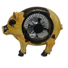 Alpine 9-inch Pig Statuary with Fan