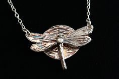 "Dragonfly Necklace - ""Dragonlfy Moon"" - Fine Silver Necklace .999 Pure Silver - PMC Artisan Jewelry. $79.00, via Etsy."