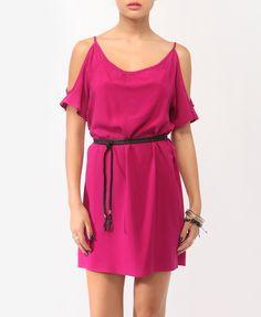 Cutout Shoulder Shift Dress w/ Belt | FOREVER21 - 2000037145