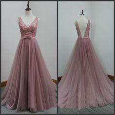 V-Back Tulle Prom Dresses,A-line Party Dresses, Evening Dresses,Long Prom Dress