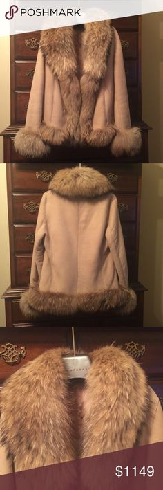 """SHEARLING & SILVER FOX CAR COAT Italian Shearling coat in soft camel suede with gorgeous silver fox trim.  Three button closure with pockets on a 27"""" length.  Made and purchased from Calzaiuoli Leather in Florence, Italy.y Calzaiuoli Jackets & Coats"""