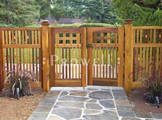 Out of all the cedar fence gate designs out there, this gorgeous, rustic wooden fence is the perfect touch as an entranceway to the garden! Fence gate ideas and design. Wooden Garden Gate, Garden Gates And Fencing, Wooden Gates, Wooden Fences, Wooden Gate Designs, Metal Fences, Fence Gates, Picket Fences, Patio Fence