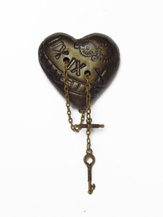 Clockpunk heart shaped brooch with chains and wire wrapped key and toggle - steampunk embossed hand painted bronze polymer clay - Arkana Clothing by Alexandra Howard